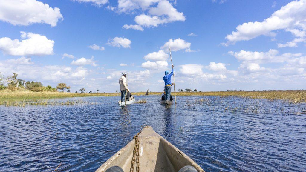 「オカバンゴ・デルタ」の水上を進む!ボートツアーに参加!