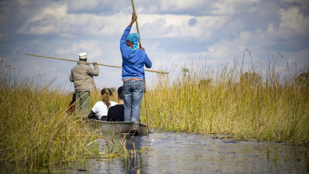 「オカバンゴ・デルタ」でボツワナ人がカヌーを漕いでくれる