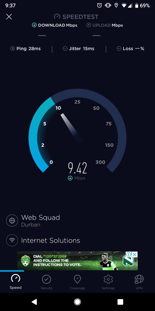 ダーバン(キング・シャカ)国際空港のWiFiの回線速度