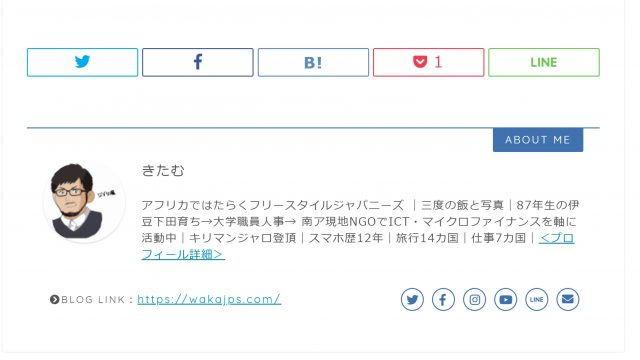 【JINカスタマイズ】プロフィールとSNSシェアボタンの位置を入れ替える