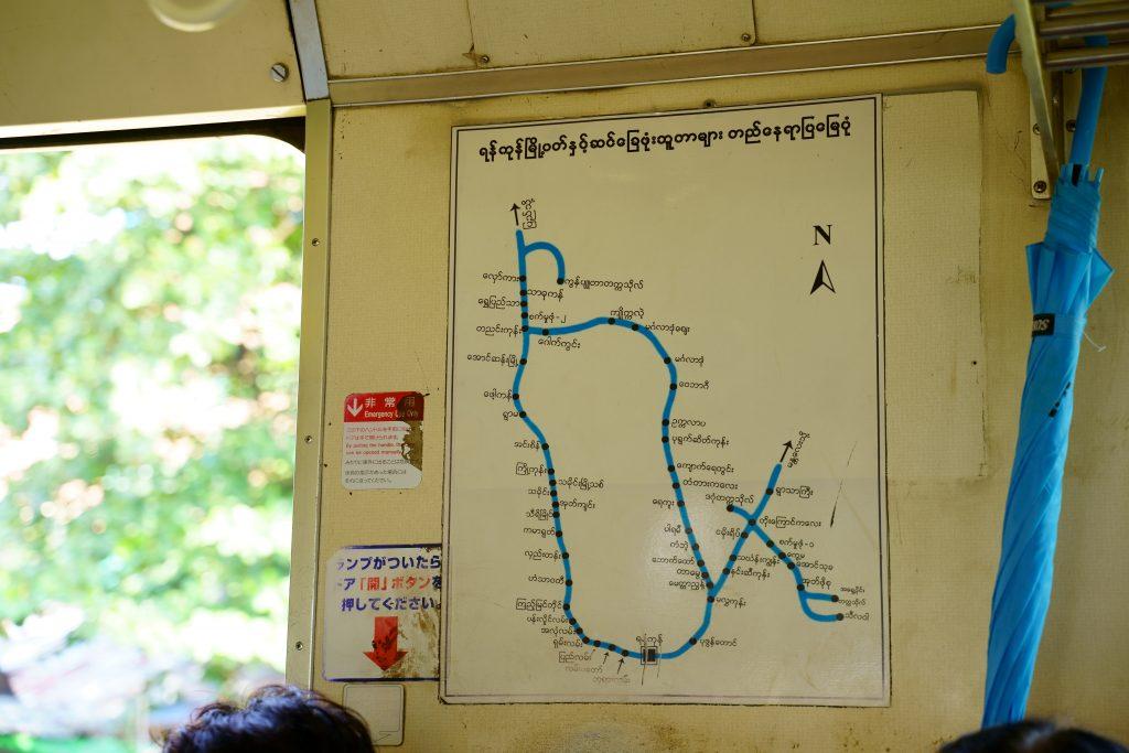 ヤンゴン環状線の路線図