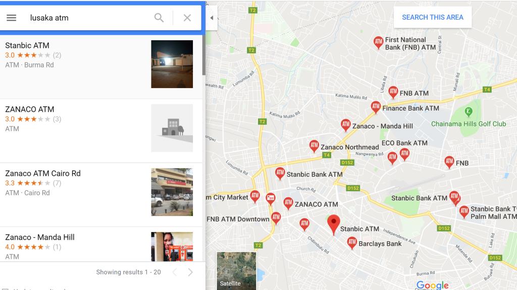 ザンビアのATMの場所を調べるには?
