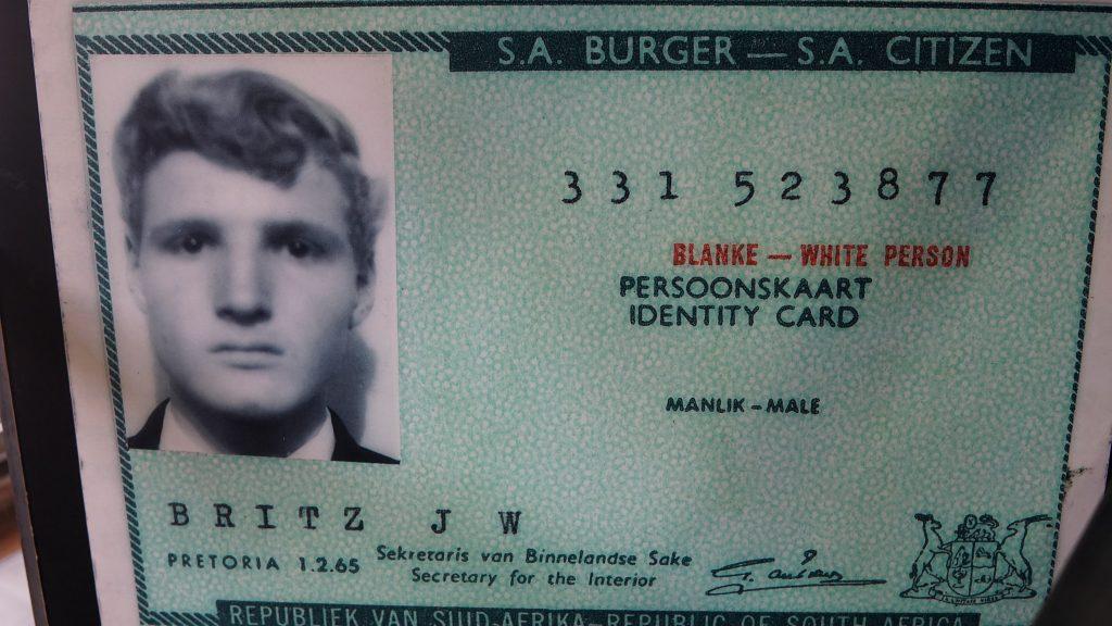 アパルトヘイト時代のID(国民カード)