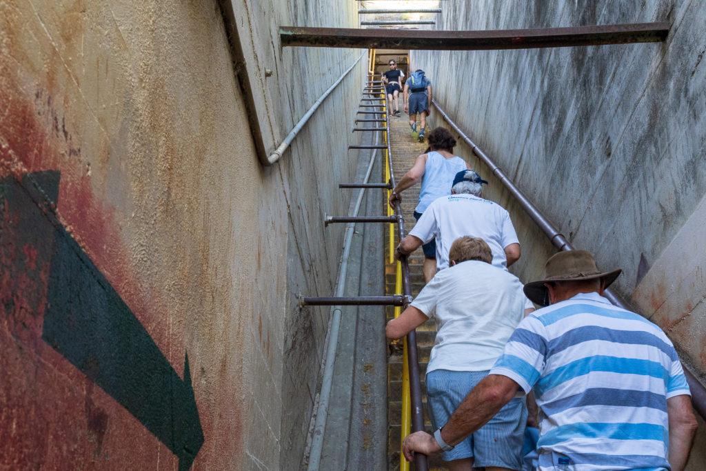 左の迂回ルートは、陽がガンガンあたるので、暑さが心配な人は階段を選択するのもアリ。
